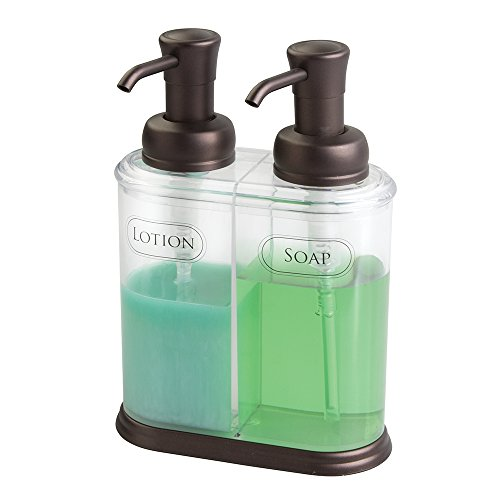Bronze Soap Lotion Dispenser - mDesign Double Liquid Hand Soap Dispenser Pump Bottle for Kitchen, Bathroom | Also Can be Used for Hand Lotion & Essential Oils - Clear/Bronze