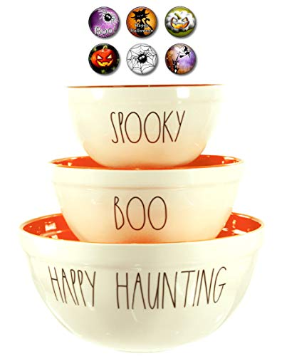 Rae Dunn Melamine Halloween Mixing Serving Bowls and Magnet Set - HAPPY HAUNTING, BOO, SPOOKY - For Candy and Treats for $<!--$69.99-->