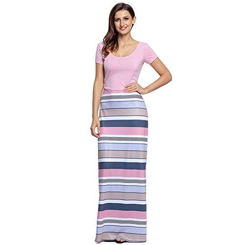MEI&S Vintage mujer elegante vestido de Prom Larga Noche Maxi vestido de fiesta Pink