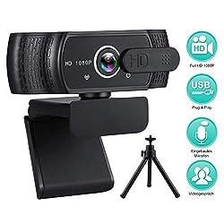 RLBUNZ 1080P Webcam mit Mikrofon, Full HD PC/Laptop Webkamera mit Stativ, Automatischer Lichtkorrektur, USB 2.0 Plug…