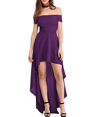 Dora Mariée Haut Bas Robes De Bal Bustier Salut Lo Demoiselle D'honneur Robe De Soirée Pour Les Femmes Violet