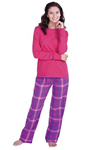 - PajamaGram Womens Pajamas Soft Plaid - Cotton Pajamas Women, Raspberry, L, 12-14