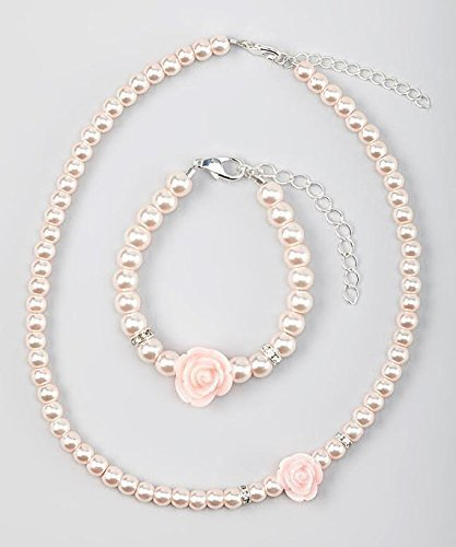 Crystal Dream Flower Girl Pink Simulated Pearls Flower Necklace with Bracelet Toddler Gift Set (GSTNB2-P_L)
