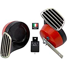 RED Black Twin TRUMPET SNAIL High/Low Tone 12v Volt Electromagnetic Loud Dual Replacement HORNS (Quantity 2) Compact Complete Universal Kit with Brackets Relay Hardware for Car Bike Motorcycle Truck for Mitsubishi Eclipse GST GT RS Mirage Evo Evolution VIII IX X VR4 SL Diamante GSX Lancer EVO 3000GT Montero GST Evolution 8 9 10 Galant Outlander Mivec GT MR GSR VR MMC VVT Cedia Carisma Pajero 3A91 3B20 4A90 4A91 4B10 4B11 4B12 4G15 4G69 4N13 6B31 6G75 4G19 4G92 4G63T 6A12 6G72 6G74