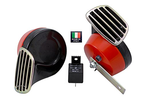 RED Black Twin TRUMPET SNAIL High/Low Tone 12v Volt Electromagnetic Loud Dual Replacement HORNS (Quantity 2) Compact Complete Universal Kit with Brackets Relay Hardware for Car Bike Motorcycle Truck for Hyundai Genesis Coupe Tiburon Accent GS GLS SE 2 3 4 door Veloster Turbo Turbocharged Coupe Sedan Hatchback Elantra - Universal Motor Bracket Kit
