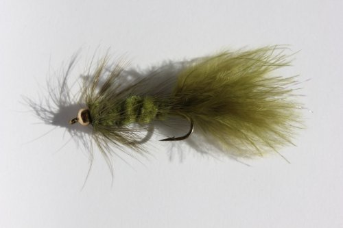 Flies Direct BH Woolly Bugger Olive Assortment Trout Fishing Flies (1-Dozen)