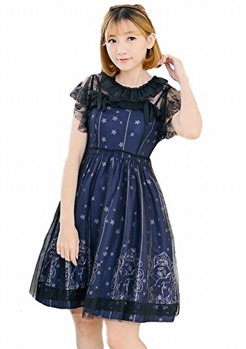 POJ Japan Harajuku Style Lolita Costume Dress [ Size S / M / L Color Navy Blue ] (Lara Croft Halloween Costume 2016)