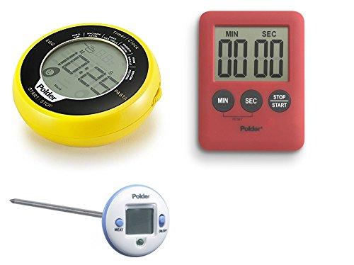 Polder Egg/Pasta Timer, Safe Serve Instant Read Thermometer, and 100-Minute Mini Timer Set