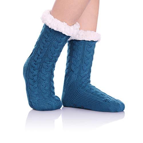 (HERHILLY Women Cable Knit Slipper Socks - Super Soft Warm Fuzzy Home Socks with Gripper (Twist Pattern Blue))