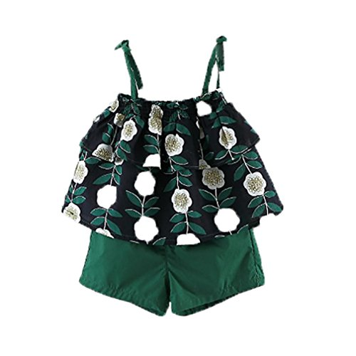 Silhouette Cotton Blouse - Coper Little Toddler Girls Cute Print T-shirt Blouse + Solid Short Pants Set (Green, 1T)