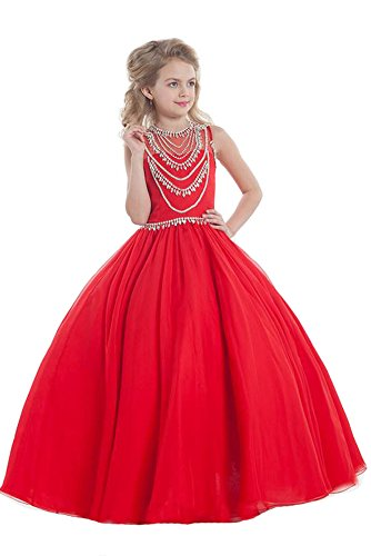 GreenBloom Girls' Crystals See-Through Back Dance Pageant Ball Gowns Dresses Watermelon 14