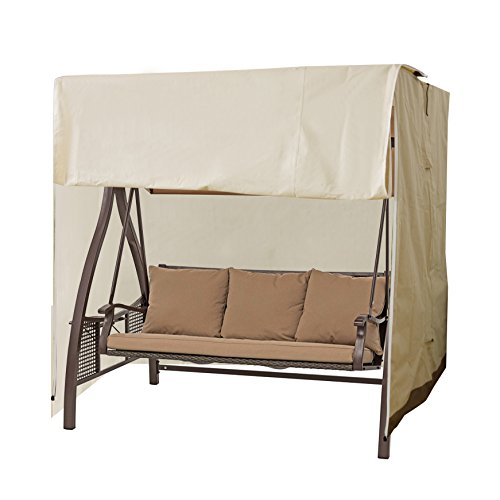 CASUN GARDEN Outdoor 2-Seater Hammock Swing Glider Canopy Cover Beige, All Weather Protection, Water Resistant, 77