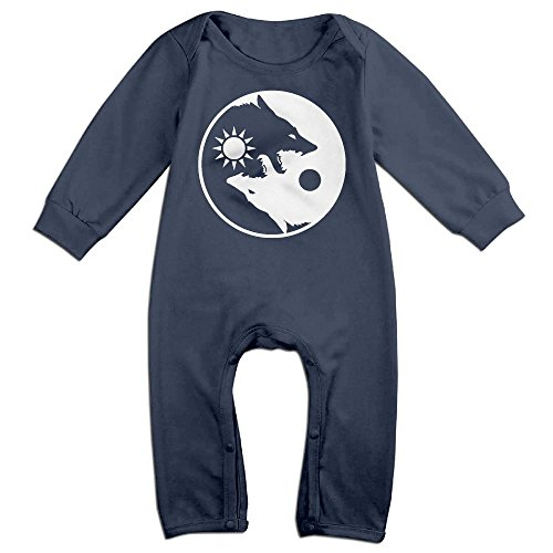 Mri-le1 Baby Boy Girl Organic Coverall Yin Yang Wolves-3 Baby Rompers