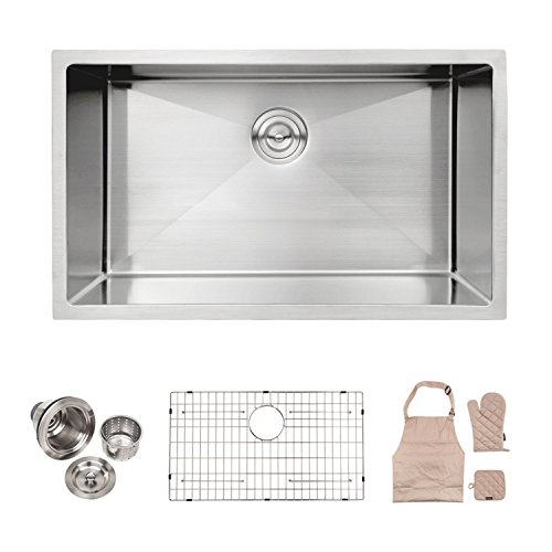 LORDEAR Commercial 32 Inch 16 Gauge 10 Inch Deep Brushed Nickel Drop In Single Undermount Single Bowl Stainless Steel Kitchen Sink,304 Stainless Steel Bar Sink Include Dish Grid and Strainer and Apron by Lordear