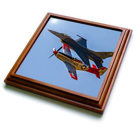 3dRose Elysium Photography - Aircraft - Fighter aircraft, old and new - 8x8 Trivet with 6x6 ceramic tile (trv_289609_1)
