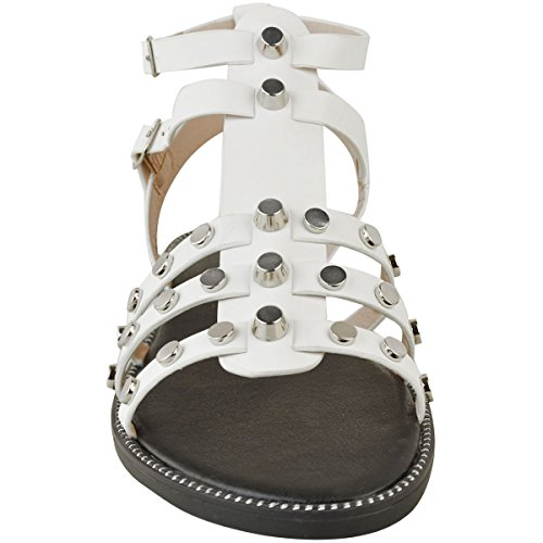 Ladies Gladiator Studded Casual White Faux Womens Strappy Leather Holiday Sandals Flat Low Heel FHqxxwadY
