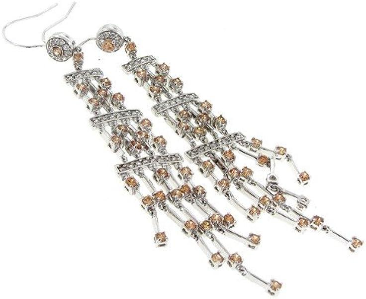 Amazoncom Hook On Cascade Dangle Earrings Champagne White Czs