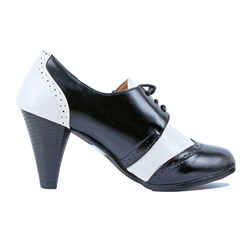 Shoes Kitten Up Lace Oxford Womens Two Classic Tip Guilty Pumps Embroidery Retro Blackwhite Wing Tone Heel gqxdnBA