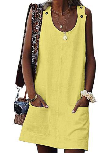 Eytino Women Casual Summer Button Mini Dress Plain Sleeveless Tank Dresses,Small Yellow