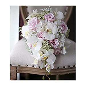 New Vintage Artificial Flowers Waterfall Wedding Bouquets Pink Cascading Bridal Bouquets De Mariage Roses Orchid Hot 97