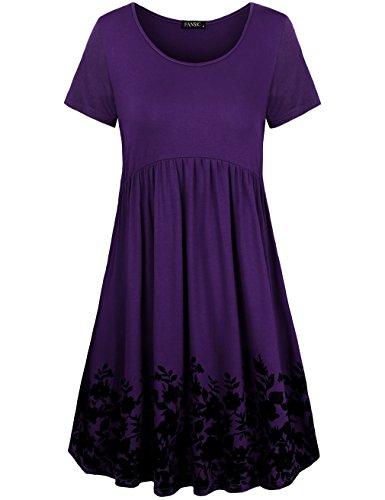 FANSIC Womens Midi Dresses,Fashion Floral Summer Tunic Dresses Short ()
