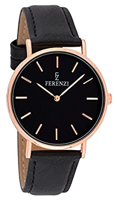 Ferenzi Women's - FZ18702 - Classic Rose Gold-Tone and Black on Black Leather Watch