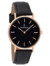 Ferenzi Women's - FZ18702 - Classic Rose Gold-Tone and Black on Black Leather Watch
