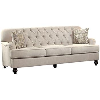 Superieur Homelegance Clemencia 85u201c Linen Like Upholstered Sofa, White