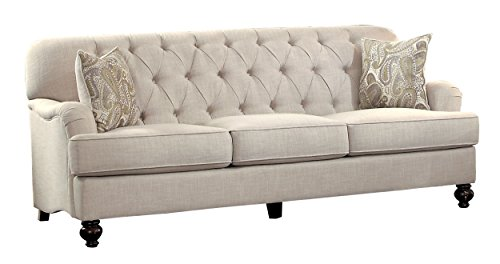 "White Contemporary Couch - Homelegance Clemencia 85"" Linen-Like Upholstered Sofa, White"