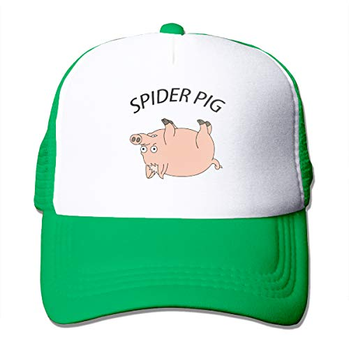 Unisex Spider Pig Trucker Cap Suitable for Indoor or Outdoor Activities Green