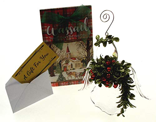 (Kissing Krystal Mini Mistletoe Angel Ornament Bundled with Winter Church Spiced Apple Cider Wassail)