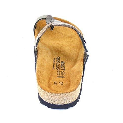 Naot Damen Schuhe Pantoletten Honolulu Echt-Leder grau silber metallic 14494
