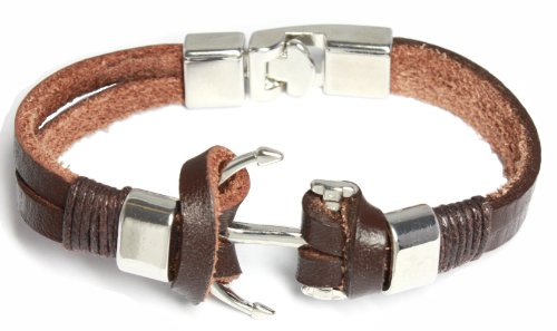 BDJ Men Women Nautical Anchor Charms Brown Leather Wrap Bracelet 8.5 Inches (ACLBw05)