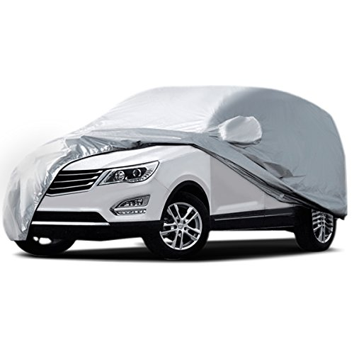 Audew Car Cover SUV Cover Car Snow Cover Waterproof/Windproof/Dustproof/Scratch Resistant Outdoor UV Protection Full Car Covers for SUV Car XL (191''-201'')