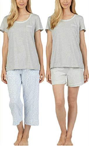 Carole Hochman Women's 3 Piece Pajama Set - Top, Short, and Capri Pant (Blue/Gray, Medium)