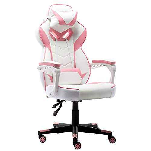 Bonzy-Home-Gaming-Chair-Office-Chair-High-Back-Computer-Chair-PU-Leather-Desk-Chair-PC-Racing-Executive-Ergonomic-Adjustable-Swivel-Task-Chair-with-Headrest-and-Lumbar-Support-Pink
