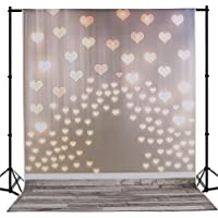 Mehofoto 5×7ft Silk Photography Backdrops Collapsible Wood Floor Lighting Love Heart Newborn Photo Background Studio Props