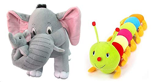 SHOP24HOME Baby #39;s Plush Grey Mother Elephant Stuffed Soft Toy, 40cm with Colourful Caterpillar, 55cm