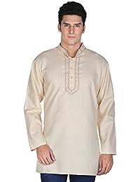 Indian Clothing Fashion Shirt Embroidered Mens Short Kurta Cotton India Dress