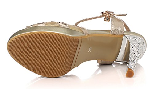 Mujer Plataforma Gold Sexy De Uh Tacn Aguja Sandalias Stiletto Escarpn Boda Moda Taln Alto Novia xw4CqX0U