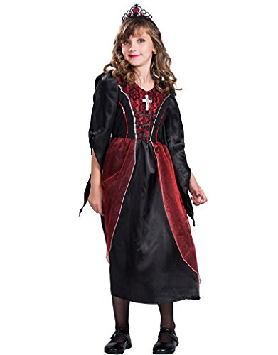 Vampire Themed Costume (FantastCostume Girl's Gothic Vampire Halloween Costume(Black Red, Medium))