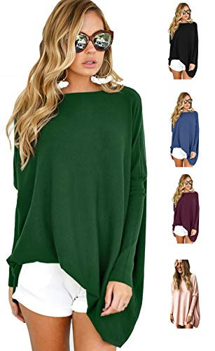 Cotton Oversized Sweater - LETSRUNWILD Women's Round Neck Oversized Sweaters Long Batwing Sleeve T-Shirt Loose Tunic Tops Green X-Large