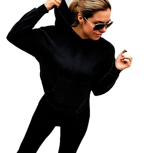 - Zainafacai Women Sweatshirt, Sexy Fashion Womens Casual Crop Solid V-Neck Backless Hoodies Blouse Tops (Black, L)