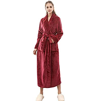 UOKNICE Sale Sexy Men's Winter Lengthened Coralline Plush Shawl Bathrobe Long Sleeved Robe Coat