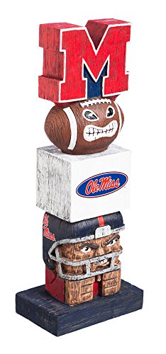 Evergreen NCAA Mississippi Old Miss Rebels FigurineTiki Totem, Team Colors, One Size