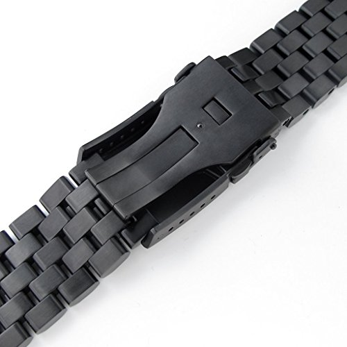 22mm Super Engineer II Solid SS Straight End Watch Band, Button Chamfer, PVD Black by 22mm Metal Band by MiLTAT (Image #5)