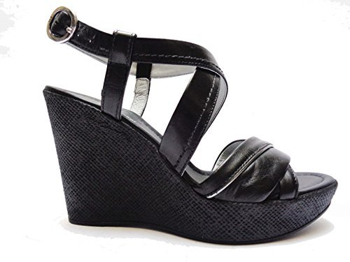 Nero Giardini 5670 Sandalen Damen aus Leder schwarz Farbe Keilabsätze ALT. cm. 10,NUM.38