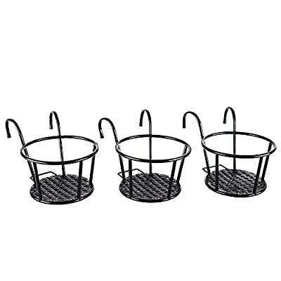 Metal/Iron Art Hanging Baskets Flower Pot Holder - Great for Patio Balcony Porch or Fence,White, Black