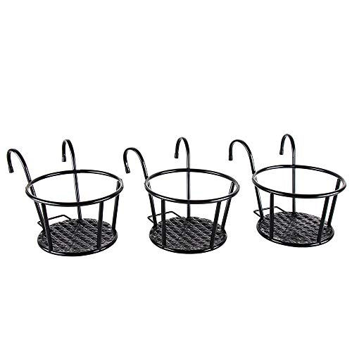 Iron Art Hanging Baskets Flower Pot Holder - HowRU Over The Rail Metal Fence Planters Assemble - Pack of 3 (Black) (Best Hanging Flowers For Porch)