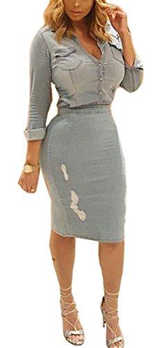 jean blouse dress - 4